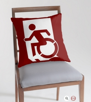 Accessible Means of Egress Icon Exit Sign Wheelchair Wheelie Running Man Symbol by Lee Wilson PWD Disability Emergency Evacuation Throw Pillow Cushion 66