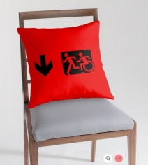 Accessible Means of Egress Icon Exit Sign Wheelchair Wheelie Running Man Symbol by Lee Wilson PWD Disability Emergency Evacuation Throw Pillow Cushion 67