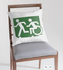 Accessible Means of Egress Icon Exit Sign Wheelchair Wheelie Running Man Symbol by Lee Wilson PWD Disability Emergency Evacuation Throw Pillow Cushion 68