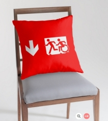 Accessible Means of Egress Icon Exit Sign Wheelchair Wheelie Running Man Symbol by Lee Wilson PWD Disability Emergency Evacuation Throw Pillow Cushion 69