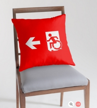 Accessible Means of Egress Icon Exit Sign Wheelchair Wheelie Running Man Symbol by Lee Wilson PWD Disability Emergency Evacuation Throw Pillow Cushion 7