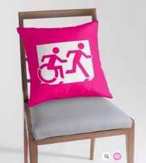 Accessible Means of Egress Icon Exit Sign Wheelchair Wheelie Running Man Symbol by Lee Wilson PWD Disability Emergency Evacuation Throw Pillow Cushion 70