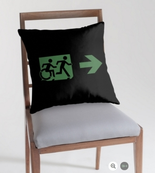 Accessible Means of Egress Icon Exit Sign Wheelchair Wheelie Running Man Symbol by Lee Wilson PWD Disability Emergency Evacuation Throw Pillow Cushion 71