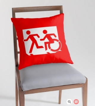 Accessible Means of Egress Icon Exit Sign Wheelchair Wheelie Running Man Symbol by Lee Wilson PWD Disability Emergency Evacuation Throw Pillow Cushion 72