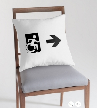 Accessible Means of Egress Icon Exit Sign Wheelchair Wheelie Running Man Symbol by Lee Wilson PWD Disability Emergency Evacuation Throw Pillow Cushion 73