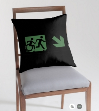 Accessible Means of Egress Icon Exit Sign Wheelchair Wheelie Running Man Symbol by Lee Wilson PWD Disability Emergency Evacuation Throw Pillow Cushion 74