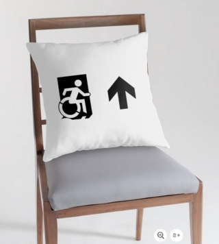 Accessible Means of Egress Icon Exit Sign Wheelchair Wheelie Running Man Symbol by Lee Wilson PWD Disability Emergency Evacuation Throw Pillow Cushion 75