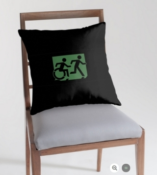 Accessible Means of Egress Icon Exit Sign Wheelchair Wheelie Running Man Symbol by Lee Wilson PWD Disability Emergency Evacuation Throw Pillow Cushion 76
