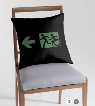 Accessible Means of Egress Icon Exit Sign Wheelchair Wheelie Running Man Symbol by Lee Wilson PWD Disability Emergency Evacuation Throw Pillow Cushion 78