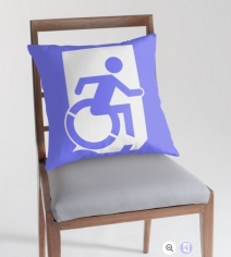 Accessible Means of Egress Icon Exit Sign Wheelchair Wheelie Running Man Symbol by Lee Wilson PWD Disability Emergency Evacuation Throw Pillow Cushion 80