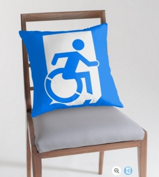 Accessible Means of Egress Icon Exit Sign Wheelchair Wheelie Running Man Symbol by Lee Wilson PWD Disability Emergency Evacuation Throw Pillow Cushion 82
