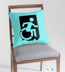 Accessible Means of Egress Icon Exit Sign Wheelchair Wheelie Running Man Symbol by Lee Wilson PWD Disability Emergency Evacuation Throw Pillow Cushion 83