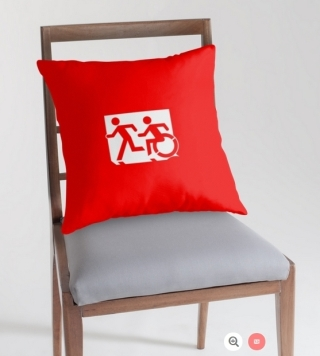 Accessible Means of Egress Icon Exit Sign Wheelchair Wheelie Running Man Symbol by Lee Wilson PWD Disability Emergency Evacuation Throw Pillow Cushion 84