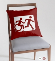 Accessible Means of Egress Icon Exit Sign Wheelchair Wheelie Running Man Symbol by Lee Wilson PWD Disability Emergency Evacuation Throw Pillow Cushion 85