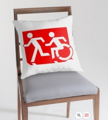 Accessible Means of Egress Icon Exit Sign Wheelchair Wheelie Running Man Symbol by Lee Wilson PWD Disability Emergency Evacuation Throw Pillow Cushion 87