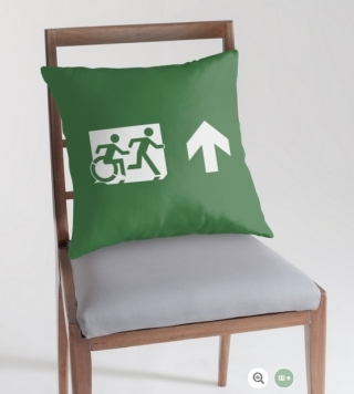 Accessible Means of Egress Icon Exit Sign Wheelchair Wheelie Running Man Symbol by Lee Wilson PWD Disability Emergency Evacuation Throw Pillow Cushion 88