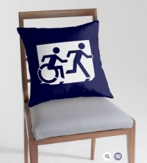 Accessible Means of Egress Icon Exit Sign Wheelchair Wheelie Running Man Symbol by Lee Wilson PWD Disability Emergency Evacuation Throw Pillow Cushion 89