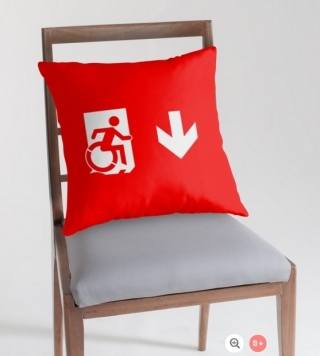 Accessible Means of Egress Icon Exit Sign Wheelchair Wheelie Running Man Symbol by Lee Wilson PWD Disability Emergency Evacuation Throw Pillow Cushion 9
