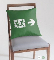 Accessible Means of Egress Icon Exit Sign Wheelchair Wheelie Running Man Symbol by Lee Wilson PWD Disability Emergency Evacuation Throw Pillow Cushion 91