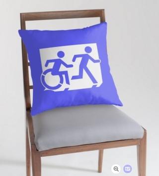 Accessible Means of Egress Icon Exit Sign Wheelchair Wheelie Running Man Symbol by Lee Wilson PWD Disability Emergency Evacuation Throw Pillow Cushion 92
