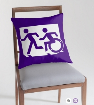 Accessible Means of Egress Icon Exit Sign Wheelchair Wheelie Running Man Symbol by Lee Wilson PWD Disability Emergency Evacuation Throw Pillow Cushion 93