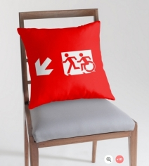 Accessible Means of Egress Icon Exit Sign Wheelchair Wheelie Running Man Symbol by Lee Wilson PWD Disability Emergency Evacuation Throw Pillow Cushion 94