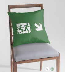 Accessible Means of Egress Icon Exit Sign Wheelchair Wheelie Running Man Symbol by Lee Wilson PWD Disability Emergency Evacuation Throw Pillow Cushion 98