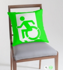 Accessible Means of Egress Icon Exit Sign Wheelchair Wheelie Running Man Symbol by Lee Wilson PWD Disability Emergency Evacuation Throw Pillow Cushion 99