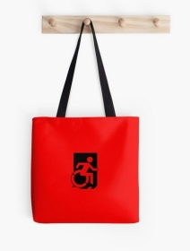 Accessible Means of Egress Icon Exit Sign Wheelchair Wheelie Running Man Symbol by Lee Wilson PWD Disability Emergency Evacuation Tote Bag 10