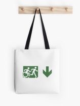 Accessible Means of Egress Icon Exit Sign Wheelchair Wheelie Running Man Symbol by Lee Wilson PWD Disability Emergency Evacuation Tote Bag 100
