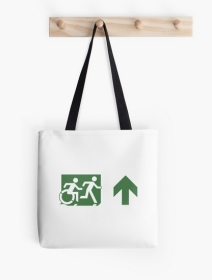 Accessible Means of Egress Icon Exit Sign Wheelchair Wheelie Running Man Symbol by Lee Wilson PWD Disability Emergency Evacuation Tote Bag 104