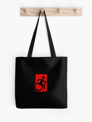 Accessible Means of Egress Icon Exit Sign Wheelchair Wheelie Running Man Symbol by Lee Wilson PWD Disability Emergency Evacuation Tote Bag 105
