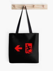 Accessible Means of Egress Icon Exit Sign Wheelchair Wheelie Running Man Symbol by Lee Wilson PWD Disability Emergency Evacuation Tote Bag 107