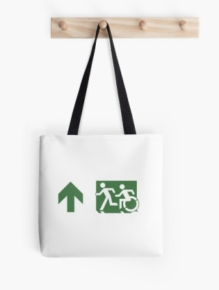 Accessible Means of Egress Icon Exit Sign Wheelchair Wheelie Running Man Symbol by Lee Wilson PWD Disability Emergency Evacuation Tote Bag 109