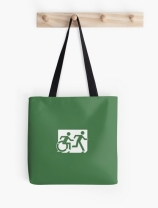Accessible Means of Egress Icon Exit Sign Wheelchair Wheelie Running Man Symbol by Lee Wilson PWD Disability Emergency Evacuation Tote Bag 11