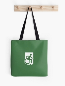 Accessible Means of Egress Icon Exit Sign Wheelchair Wheelie Running Man Symbol by Lee Wilson PWD Disability Emergency Evacuation Tote Bag 112