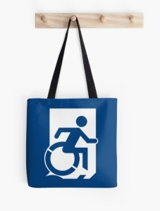 Accessible Means of Egress Icon Exit Sign Wheelchair Wheelie Running Man Symbol by Lee Wilson PWD Disability Emergency Evacuation Tote Bag 113