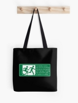 Accessible Means of Egress Icon Exit Sign Wheelchair Wheelie Running Man Symbol by Lee Wilson PWD Disability Emergency Evacuation Tote Bag 115