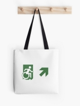 Accessible Means of Egress Icon Exit Sign Wheelchair Wheelie Running Man Symbol by Lee Wilson PWD Disability Emergency Evacuation Tote Bag 118