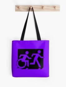 Accessible Means of Egress Icon Exit Sign Wheelchair Wheelie Running Man Symbol by Lee Wilson PWD Disability Emergency Evacuation Tote Bag 119