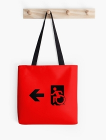 Accessible Means of Egress Icon Exit Sign Wheelchair Wheelie Running Man Symbol by Lee Wilson PWD Disability Emergency Evacuation Tote Bag 12