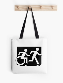 Accessible Means of Egress Icon Exit Sign Wheelchair Wheelie Running Man Symbol by Lee Wilson PWD Disability Emergency Evacuation Tote Bag 120