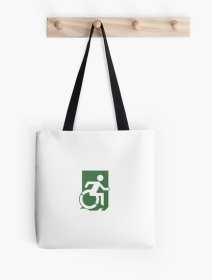 Accessible Means of Egress Icon Exit Sign Wheelchair Wheelie Running Man Symbol by Lee Wilson PWD Disability Emergency Evacuation Tote Bag 121