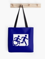 Accessible Means of Egress Icon Exit Sign Wheelchair Wheelie Running Man Symbol by Lee Wilson PWD Disability Emergency Evacuation Tote Bag 122