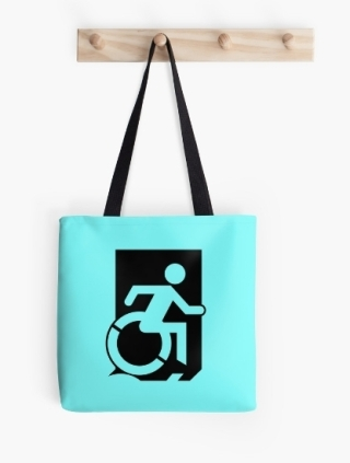 Accessible Means of Egress Icon Exit Sign Wheelchair Wheelie Running Man Symbol by Lee Wilson PWD Disability Emergency Evacuation Tote Bag 124