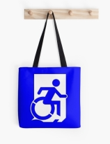 Accessible Means of Egress Icon Exit Sign Wheelchair Wheelie Running Man Symbol by Lee Wilson PWD Disability Emergency Evacuation Tote Bag 126