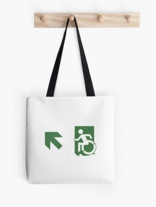 Accessible Means of Egress Icon Exit Sign Wheelchair Wheelie Running Man Symbol by Lee Wilson PWD Disability Emergency Evacuation Tote Bag 127