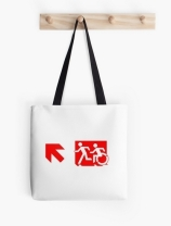 Accessible Means of Egress Icon Exit Sign Wheelchair Wheelie Running Man Symbol by Lee Wilson PWD Disability Emergency Evacuation Tote Bag 129