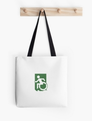 Accessible Means of Egress Icon Exit Sign Wheelchair Wheelie Running Man Symbol by Lee Wilson PWD Disability Emergency Evacuation Tote Bag 130