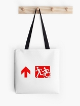 Accessible Means of Egress Icon Exit Sign Wheelchair Wheelie Running Man Symbol by Lee Wilson PWD Disability Emergency Evacuation Tote Bag 131